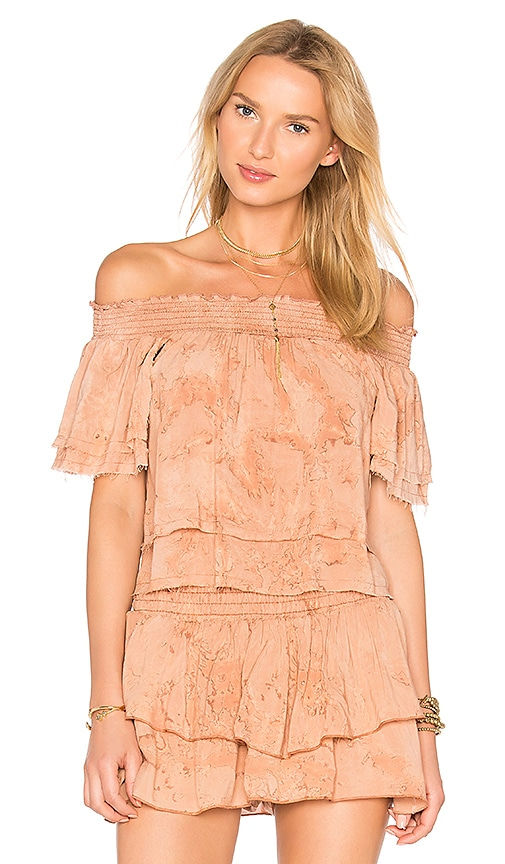 Blue Life Show Off Shoulder Top in Orange