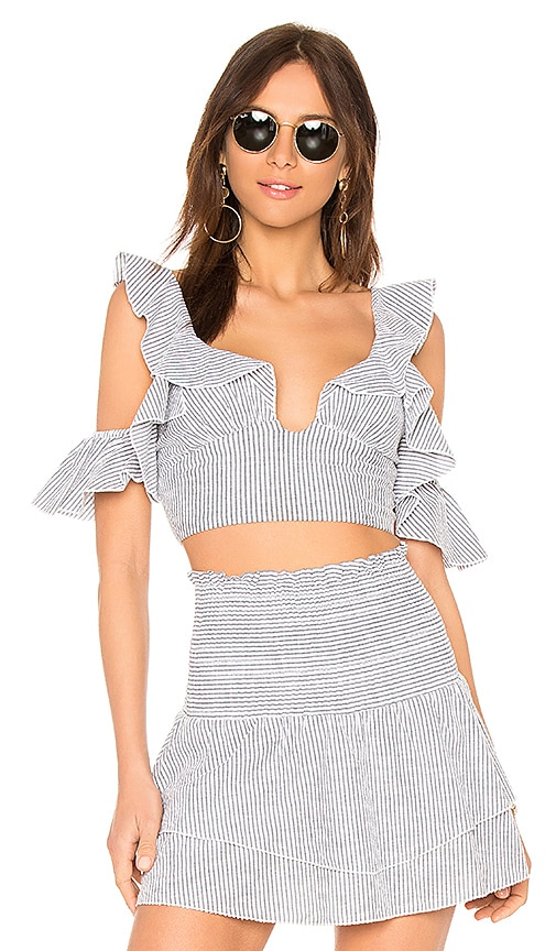 Blue Life Call Me Ruffle Top in Gray