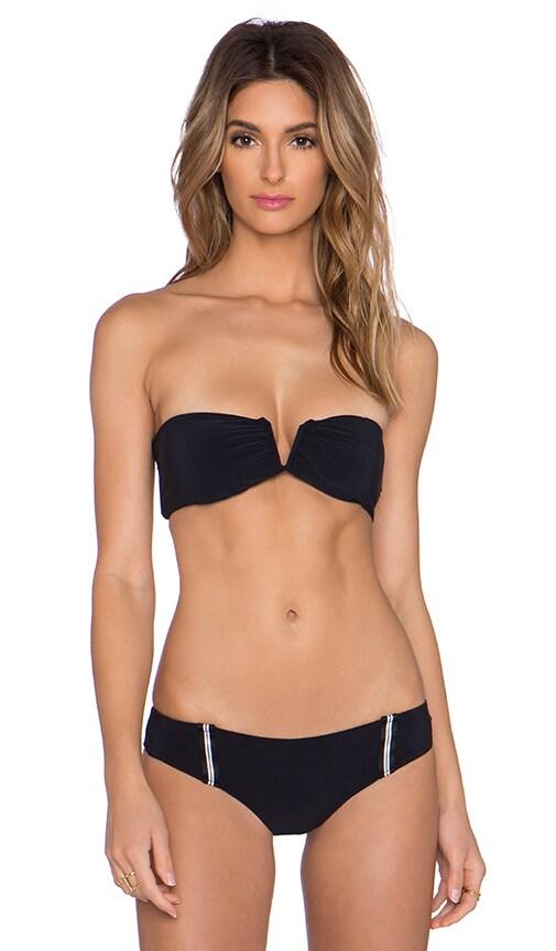 Blue Life Racing Stripes Bandeau Bikini Top in Black