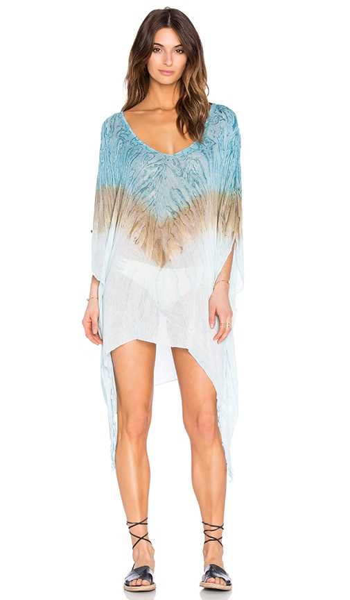 Blue Life V Neck Cape Cool Cover Up in Blue