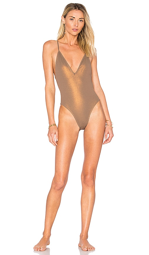 Blue Life Plunge One Piece in Brown