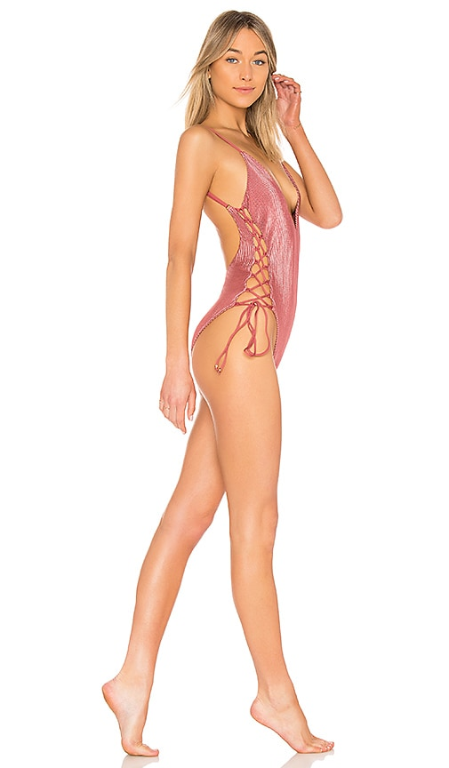 657a06e181 Blue Life Mermaid One Piece in Dusty Rose | REVOLVE