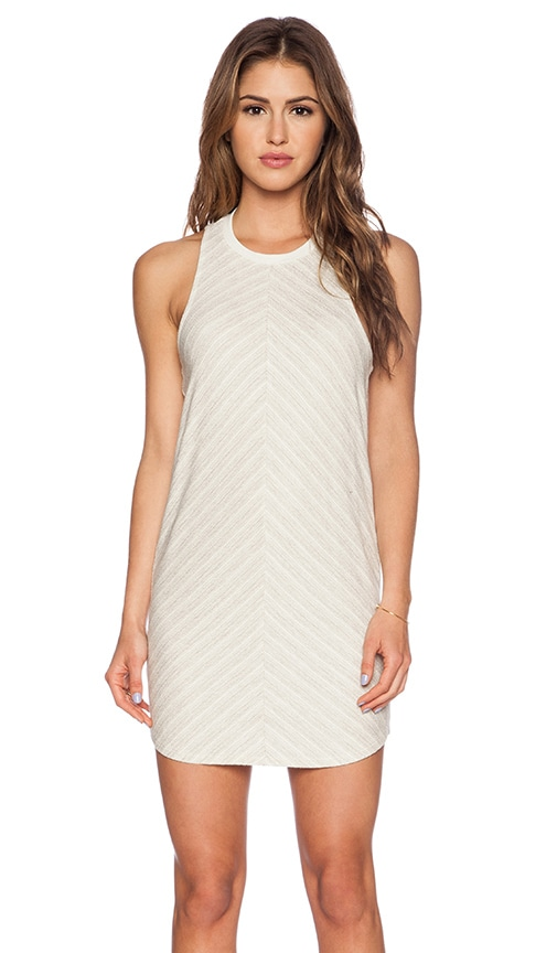 Bella Luxx Crew Neck Tank Dress in Cream & Grey