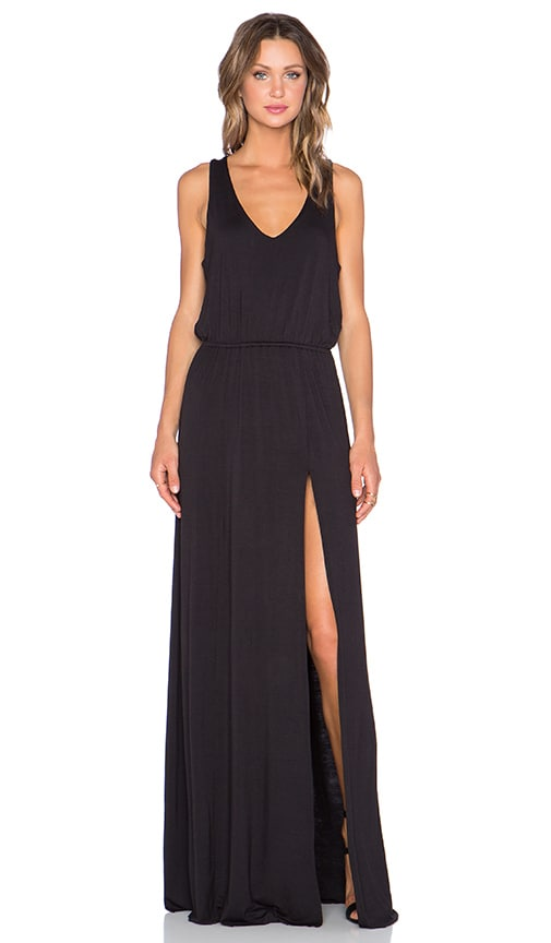 Bella Luxx Open Back Maxi Dress in Black