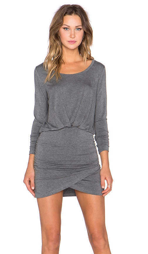 Bella Luxx Long Sleeve Shirred Mini Dress in Steel Heather