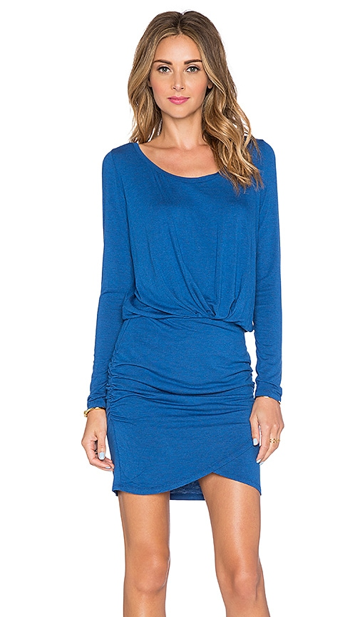 Bella Luxx Long Sleeve Shirred Mini Dress in Lapis Blue Heather