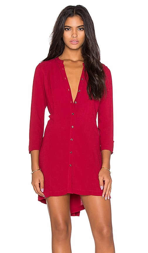 Bella Luxx Pleat Back Shirt Dress in Cranberry
