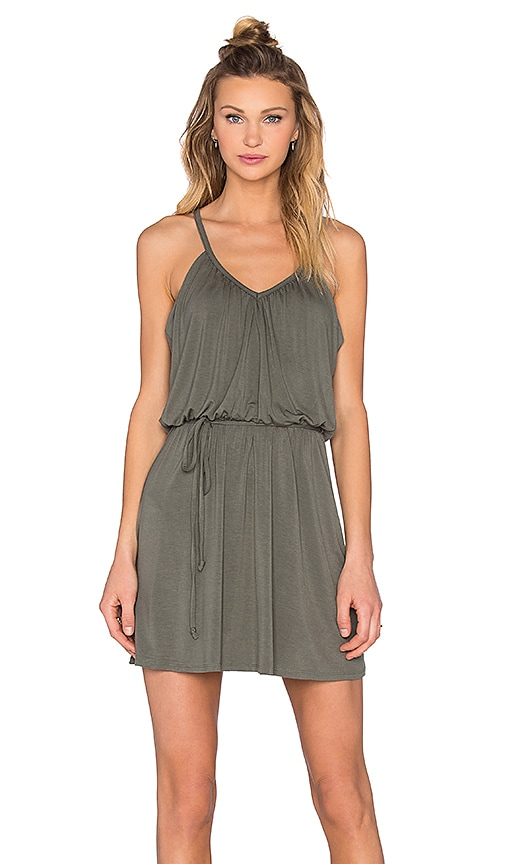 Bella Luxx Shirred Cami Dress in Willow Green