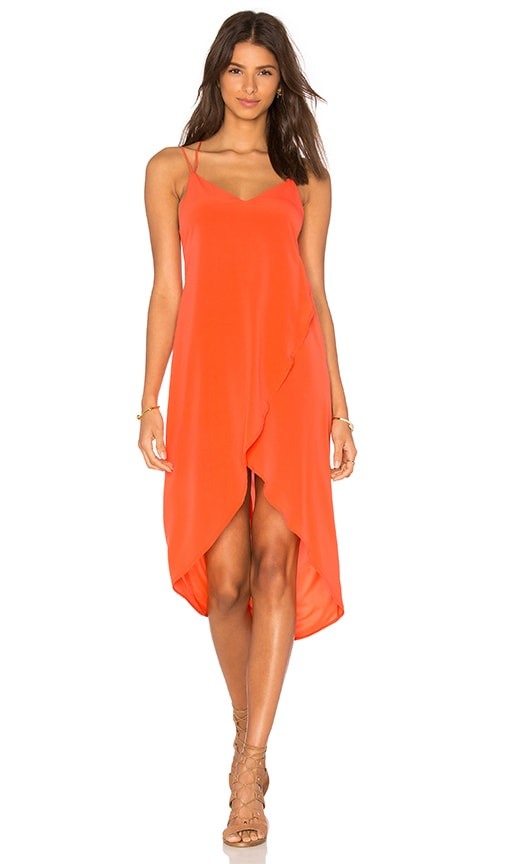 Bella Luxx Low Cut Midi Dress in Orange