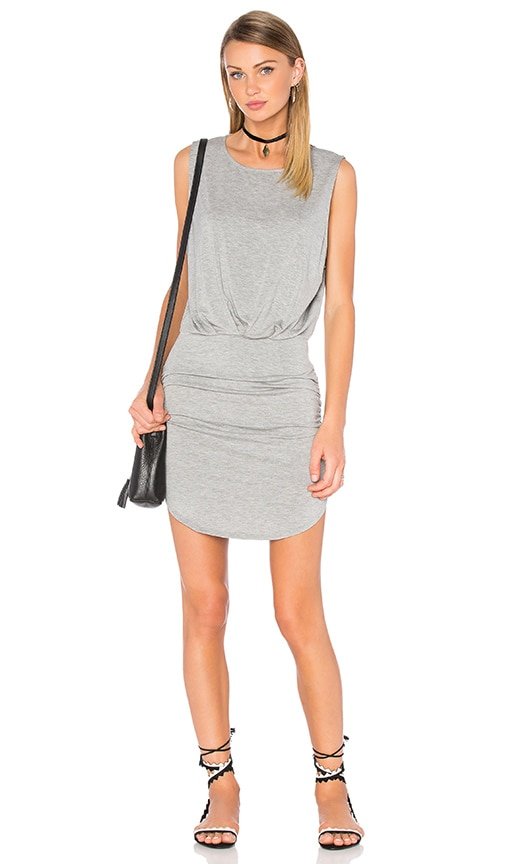 Bella Luxx Shirred Muscle Tank Dress in Gray
