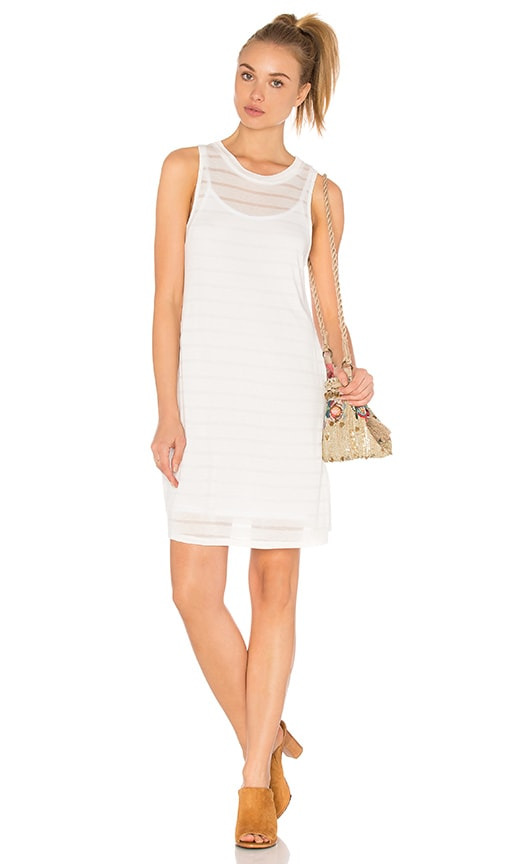 Bella Luxx Shadow Stripe Tank Dress in White