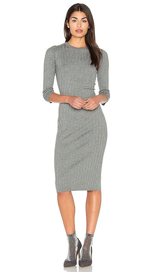 Bella Luxx Crossed Rib Sweater Dress in Gray