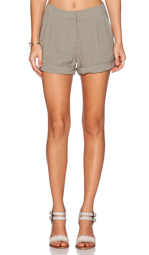 Bella Luxx Pleated Trouser Short in Thyme