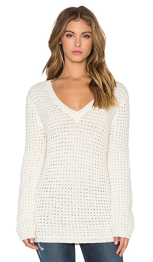 Bella Luxx Waffle Oversized V-Neck Sweater in Cream
