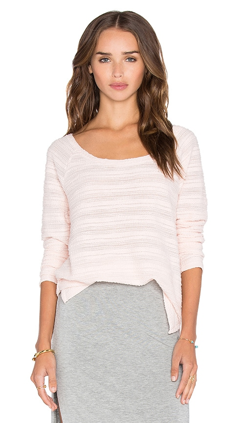 Bella Luxx Stripe Oversized Pullover in Pink