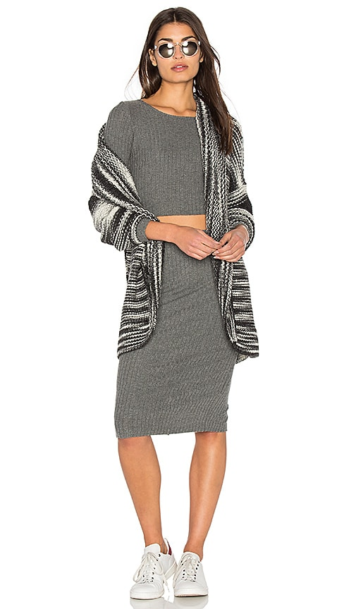 Bella Luxx Storm Stripe Cardigan in Charcoal