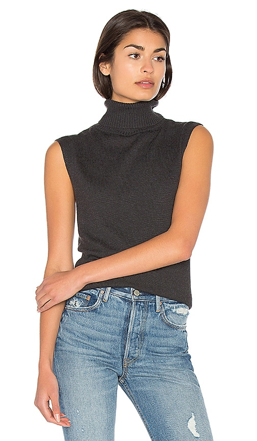 Bella Luxx Cashmere Blend Funnel Neck Tank in Charcoal