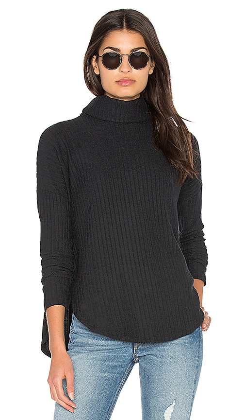 Bella Luxx Plush Rib Funnel Neck Pullover Sweater in Black