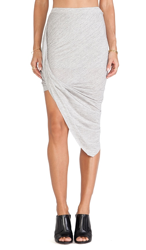 Bella Luxx Twisted Side Drape Skirt in Cement Heather