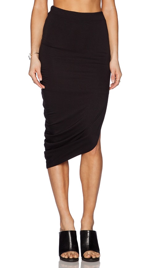 luxx asymmetrical drape maxi skirt in black revolve