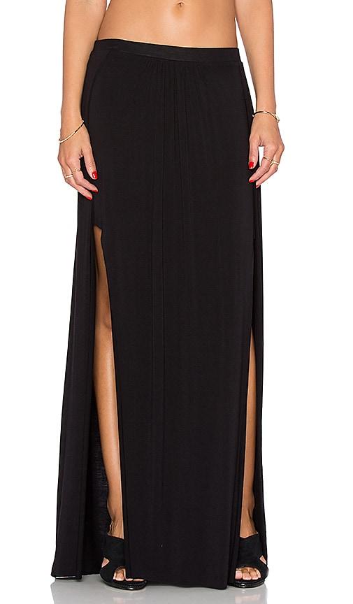 Bella Luxx Paneled Maxi Skirt in Black