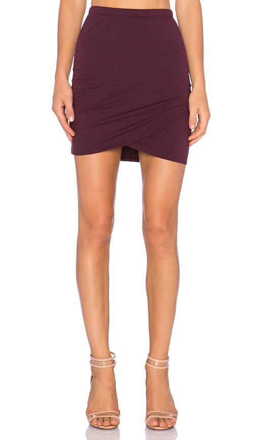 Bella Luxx Shirred Cross Front Mini Skirt in Black Currant