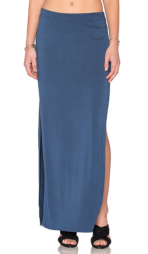 Bella Luxx Side Split Maxi Skirt in Blue