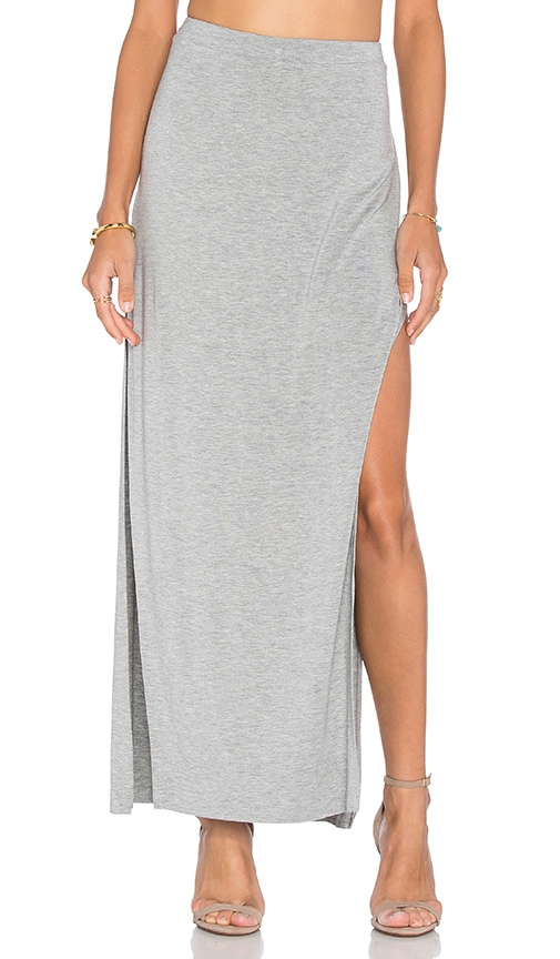 Bella Luxx Side Split Maxi Skirt in Heather Grey