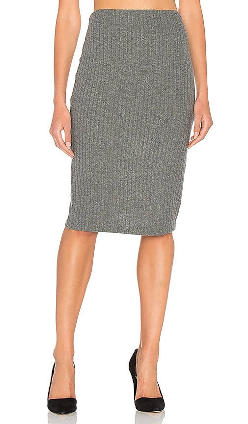 Bella Luxx Plush Rib Tube Skirt in Gray