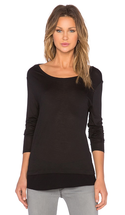 Bella Luxx Long Sleeve Layered Top in Black