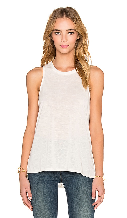 Bella Luxx Marbled High Low Muscle Tank in Cream Marble