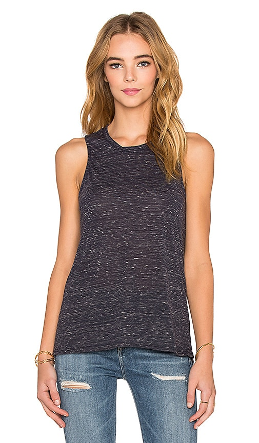Bella Luxx Marbled High Low Muscle Tank in Navy Marble