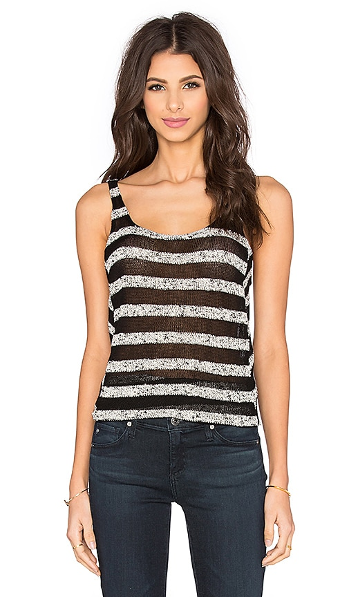 Bella Luxx Mesh Stripe Tank in Black & Marled