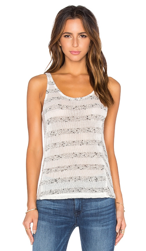 Bella Luxx Mesh Stripe Tank in Cream & Marled