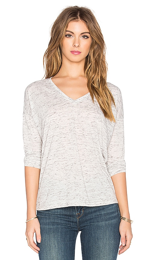 Bella Luxx Marbled Long Sleeve V-Neck Tee in White Marble