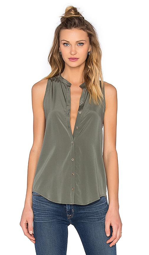Bella Luxx Pleat Back Button Up Tank in Willow Green