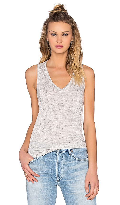 Bella Luxx V Neck Racerback Tank in Gray