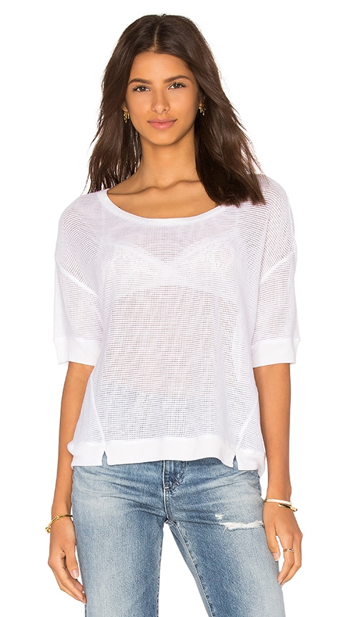Bella Luxx Boxy Mesh Tee in White