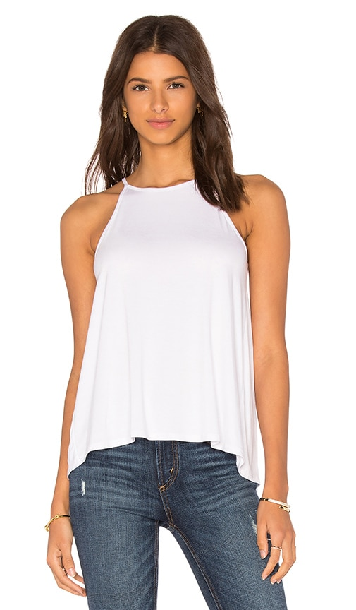 Bella Luxx Pleated Back Tank in White