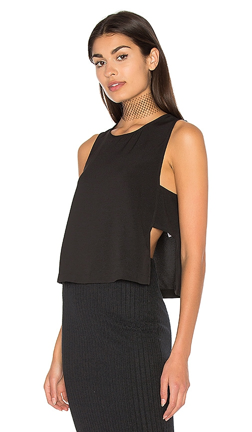 Bella Luxx Moss Crepe Panel Top in Black