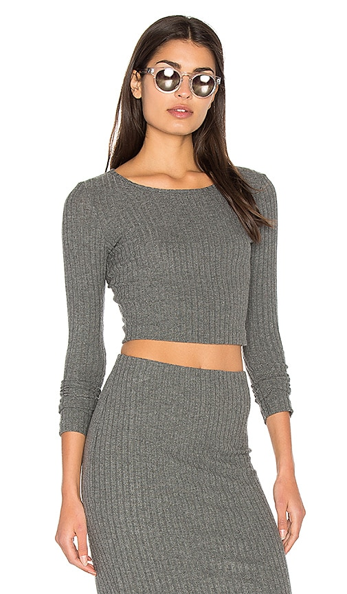 Bella Luxx Plush Rib Long Sleeve Crop Top in Gray