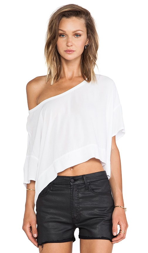 Crepe Cropped Scoop Neck Tee