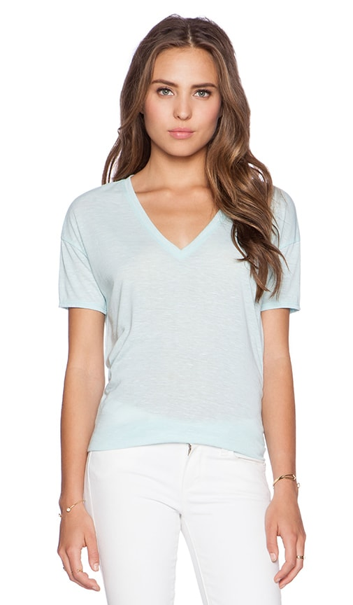 Bella Luxx Marbled V Neck Tee in Seagreen Marble