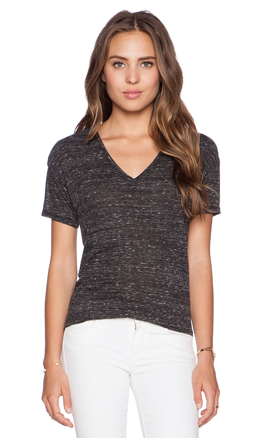 Bella Luxx Marbled V Neck Tee in Black Marble