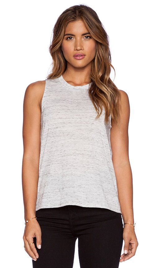 Bella Luxx Marbled Muscle Tank in White Marble