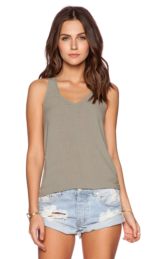 Bella Luxx Cut Out Tank in Thyme