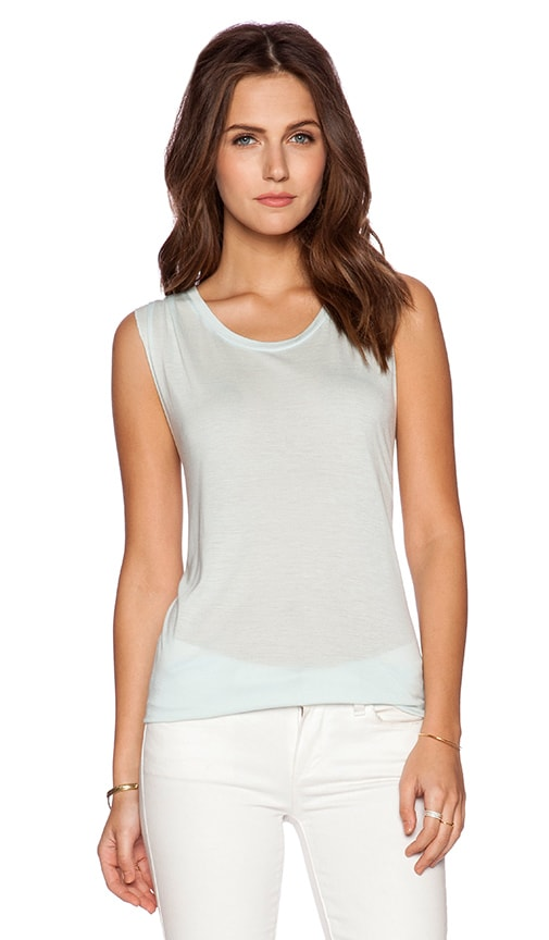 Bella Luxx Side Drape Muscle Tank in Aquamarine