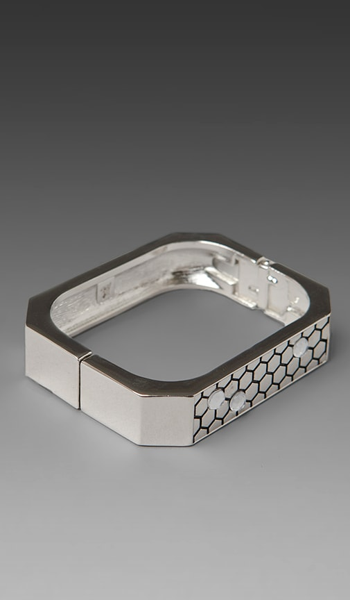 Honey Hexagon Cuff with Clear Pave