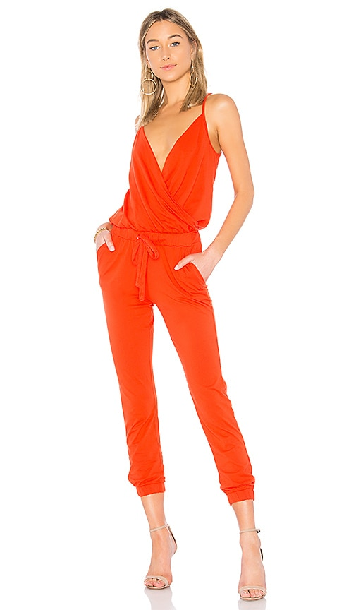 Bobi Supreme Jersey Surplice Jumpsuit in Red