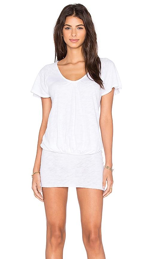Bobi Cotton Slub Scoop Neck Tunic in White
